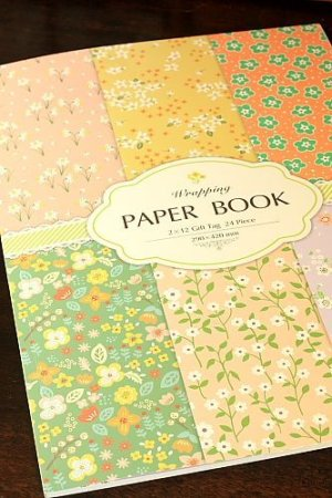 Photo1: XXXL size Gift Wrapping Paper Book - Flowers 24 sheets