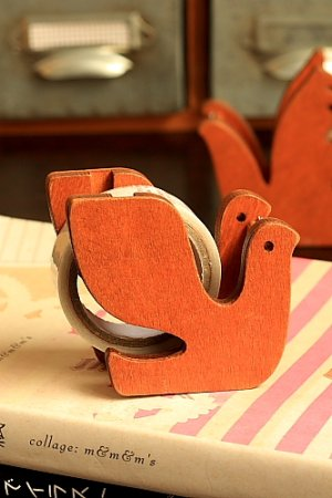 Photo1: Kawaii Japanese Zakka Wooden Tape Dispenser