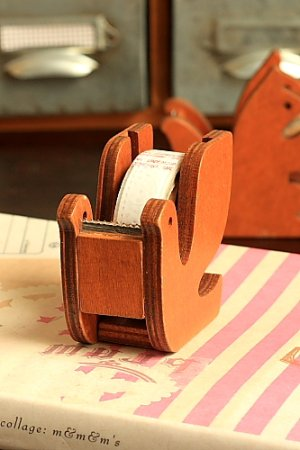 Photo2: Kawaii Japanese Zakka Wooden Tape Dispenser