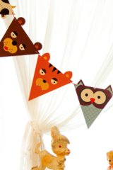 Kawaii Party Flags Garland - Forest Animals
