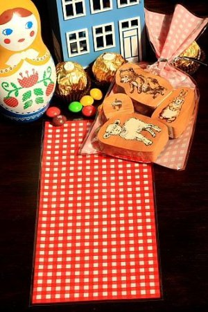 Photo1: Kawaii Gift Wrapping Candy Bag - Red Gingham (10p)