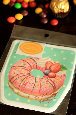 Photo1: Kawaii Gift Wrapping Candy Bag - Donuts Green (10bags+10stickers)