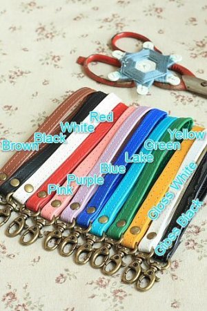 Photo1: Kawaii Candy Color PU Leather Bag Handle with One Lobster Claw Clasp