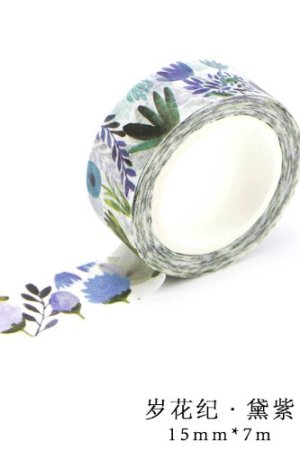 Photo1: Kawaii Washi Masking Tape - Purple Flowers
