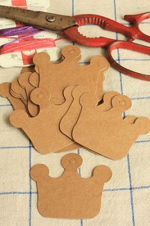 Photo1: Kraft BROWN ECO friendly tags - Crown