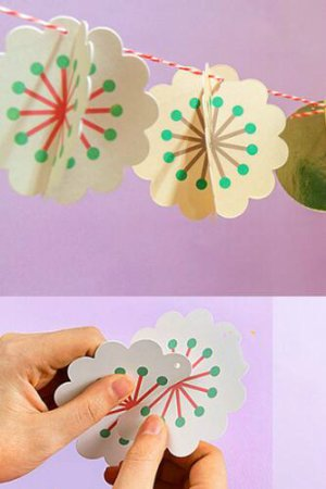 Photo1: Kawaii Party Decorative Flags Garland - Flower Flakes
