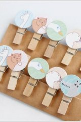 SALE - Kawaii Wooden Clip with Hemp cord - Animals