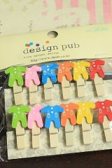 SALE - Kawaii Wooden Clip with Hemp cord - Baby Clothes