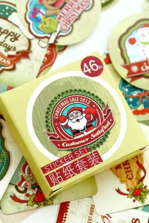 Photo1: SALE - Lovely Paper Label Sticker Box -  Merry Christmas