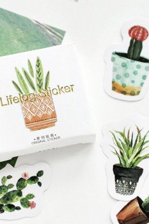 Photo1: Lovely Paper Label Sticker Box -  Cactus