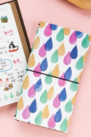 Photo1: new Kawaii Planner Organizer Note Book - Colorful Rain Drops