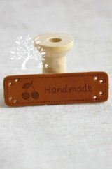 DIY Sewing Materies PU leather tag - Handmade with Cherry