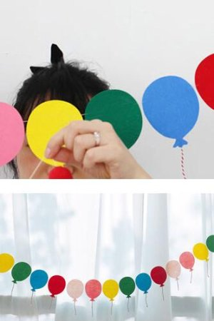 Photo1: Kawaii Party Decorative Flags Garland - Lovely Balloons