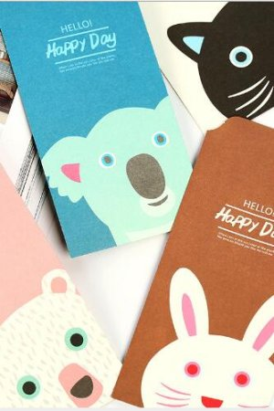 Photo1: Cute Slim Envelope Set - Hello Happy Day (random pattern)