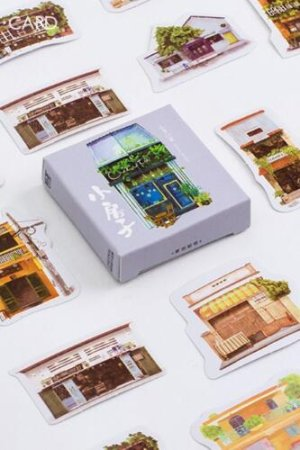 Photo1: Lovely Paper Label Sticker Box -  Little House