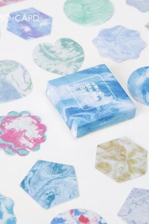 Photo1: SALE - Lovely Planner Paper Label Sticker Box -  Marble Sky