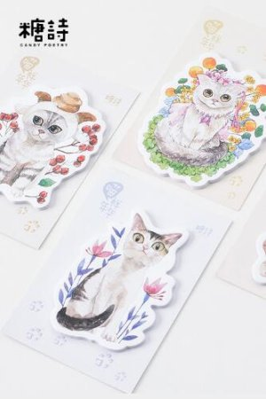 Photo1: Kawaii Sticky Notes Memo - Cat Life