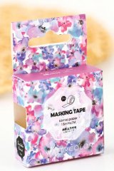Kawaii Bentoto Washi Masking Tape - Purple Flowers