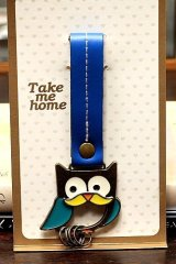 sale - Cute Key Ring with Real Leather Strap - Little Owl