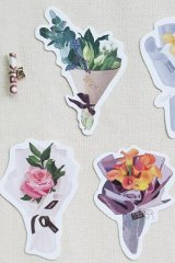 Kawaii Post Card Set - diecut Alice Flower