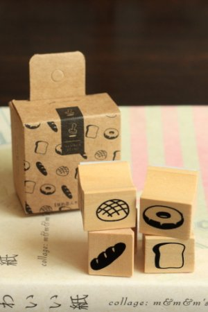 Photo1: Lovely Wooden Rubber Stamp - Afternoon Tea Bread Donuts Set (4 stamps)