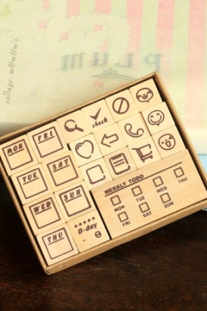 Photo1: Wooden Rubber Stamp Set - Weekly Planner Life