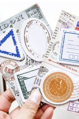 Vintage Style Sticky Notes Memo - passport stamps