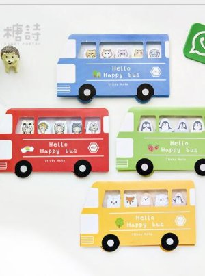 Photo1: Kawaii Sticky Notes Memo Marker - Forest Bus