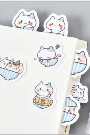 Photo1: Lovely Planner Paper Label Sticker Box -  A bowl of cat