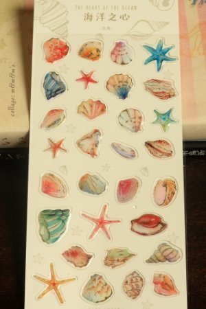Photo1: SALE - Kawaii Resin Embossed Planner Sticker Set - Heart of Ocean
