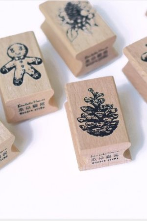 Photo1: Lovely Wooden Rubber Stamp - Christmas