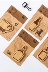 Kawaii Sticky Notes Memo - Kraft Paper Bottles Cups