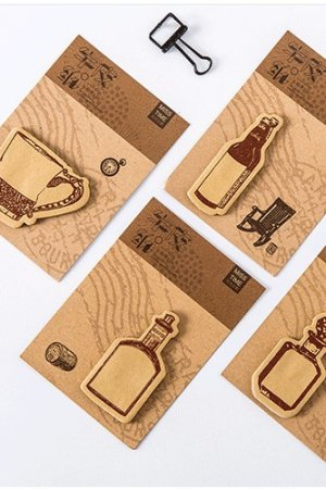 Photo1: Kawaii Sticky Notes Memo - Kraft Paper Bottles Cups
