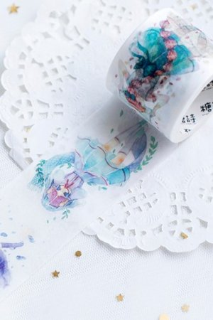 Photo1: Kawaii Wide Washi Masking Tape - Sky Girl - Girls
