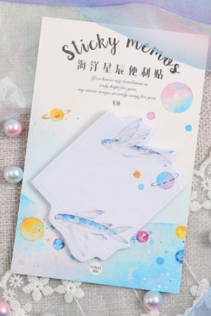 Photo1: cute Paper Sticky Notes Memo - Flying Fish