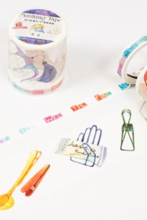 Photo1: SALE - cute Decorative Washi Masking Tape - clip and week
