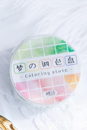 Photo1: Kawaii Wide Washi Masking Tape - coloring dream plate