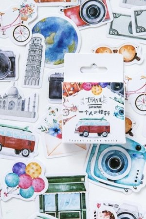 Photo1: Lovely Planner Paper Label Sticker Box - Travel Alone
