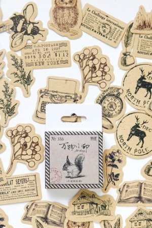 Photo1: Lovely Planner Paper Label Sticker Box - creatures