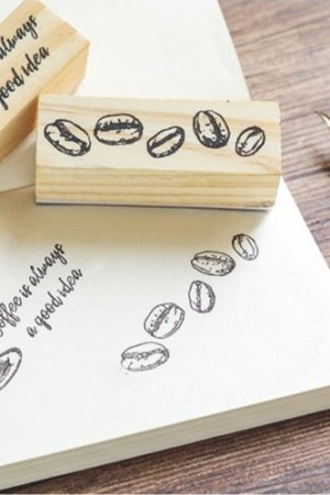 Photo1: Lovely Wooden Rubber Stamp - Coffee Beans
