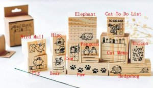 Photo2: Lovely Wooden Rubber Stamp - Animals