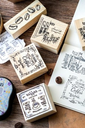 Photo1: Lovely Wooden Rubber Stamp - Coffee