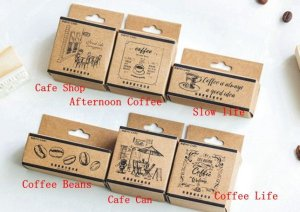 Photo2: Lovely Wooden Rubber Stamp - Coffee