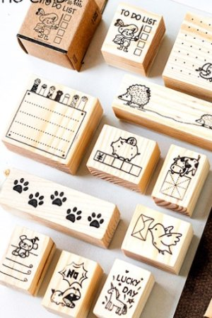 Photo1: Lovely Wooden Rubber Stamp - Animals
