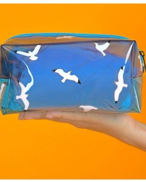 Photo1: cute Transparent PVC Cosmetic Bag - seagull