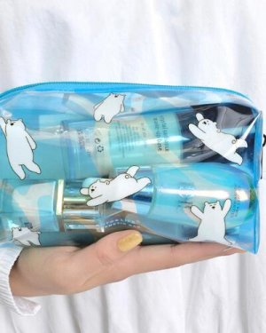 Photo1: cute Transparent PVC Cosmetic Bag - polar bear