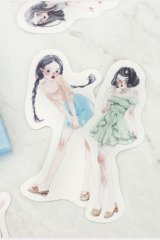 Kawaii Post Card Set - diecut Romantic Girl