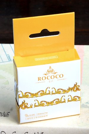 Photo1: Kawaii Washi Masking Tape - ROCOCO Series - Golden Frame