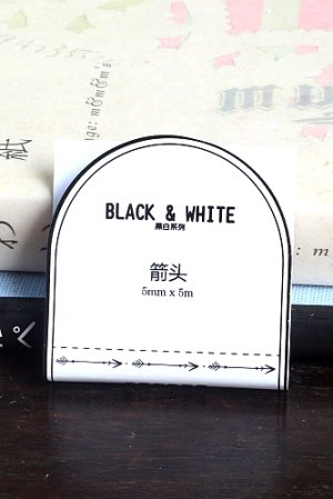 Photo1: Black White Planner Slim Masking Tape - arrow