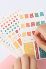 Kawaii Basic Planner Index Bujo Sticker Seal - 3 sheets